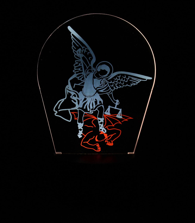 Luminária em Acrílico Sem Fio: Arcanjo Miguel
