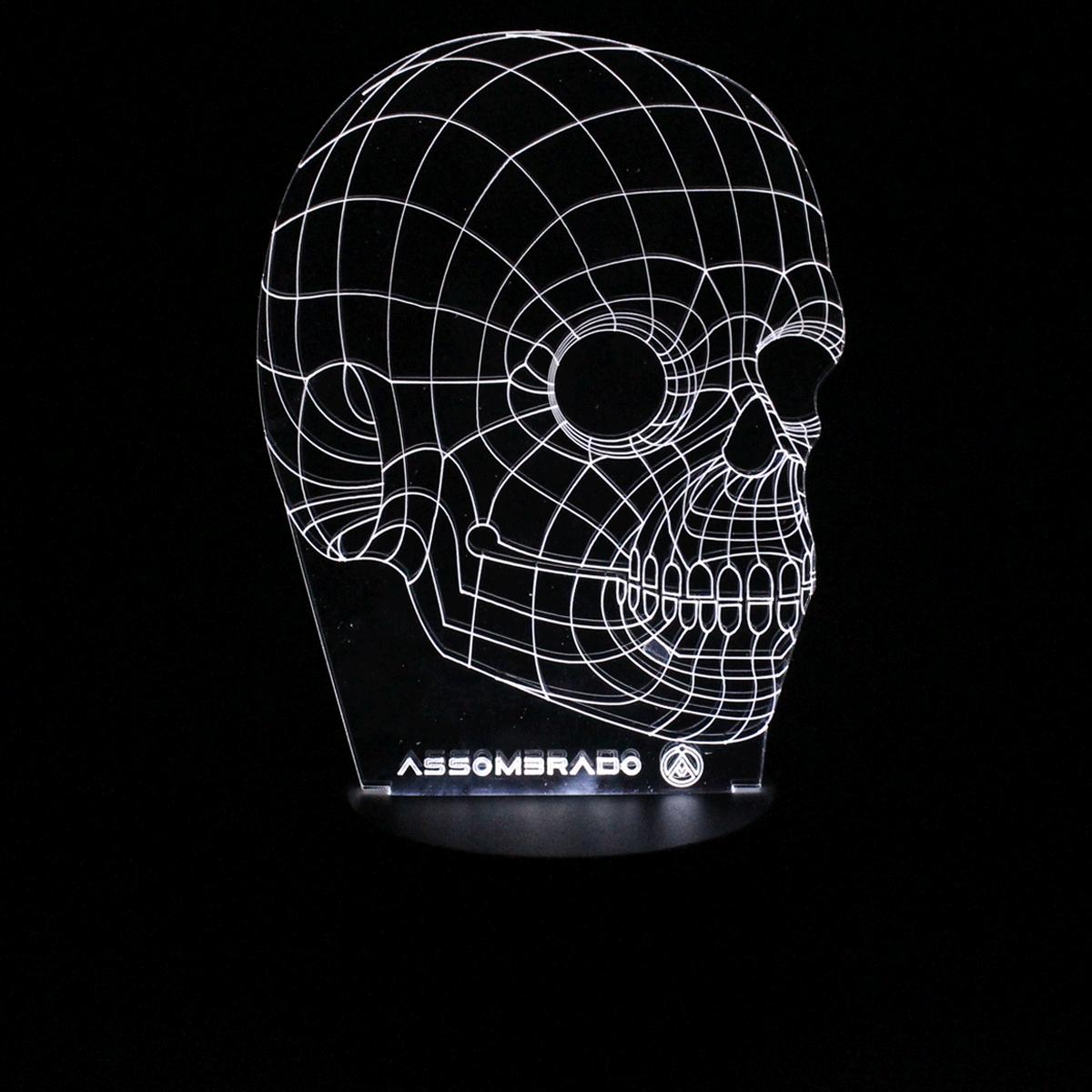 Luminária em Acrílico Sem Fio: Caveira 3D