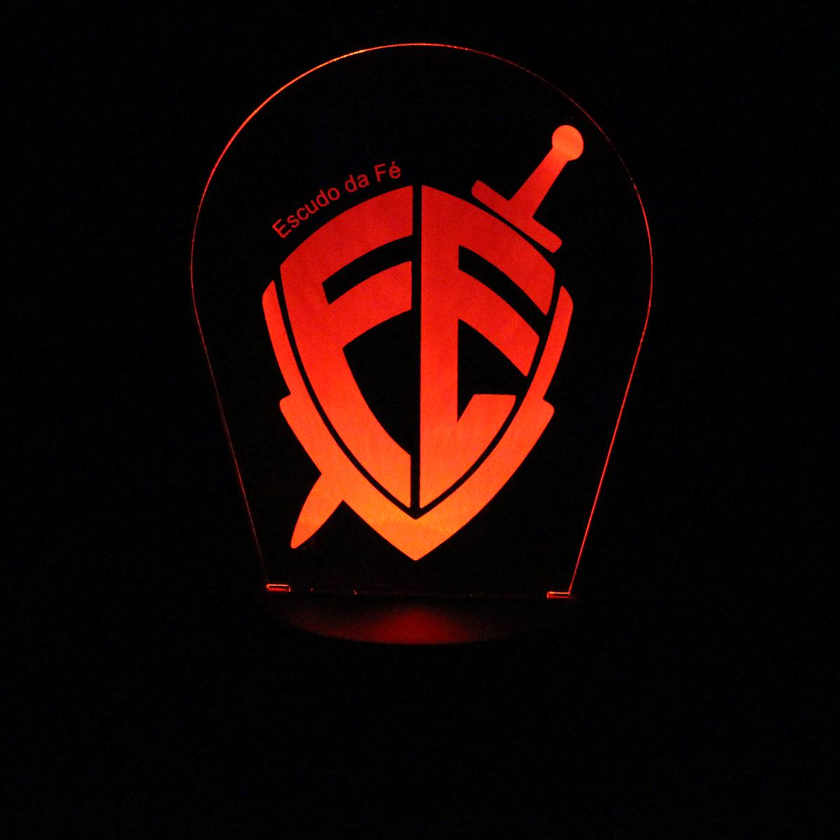 Luminária em Acrílico Sem Fio: Escudo da Fé