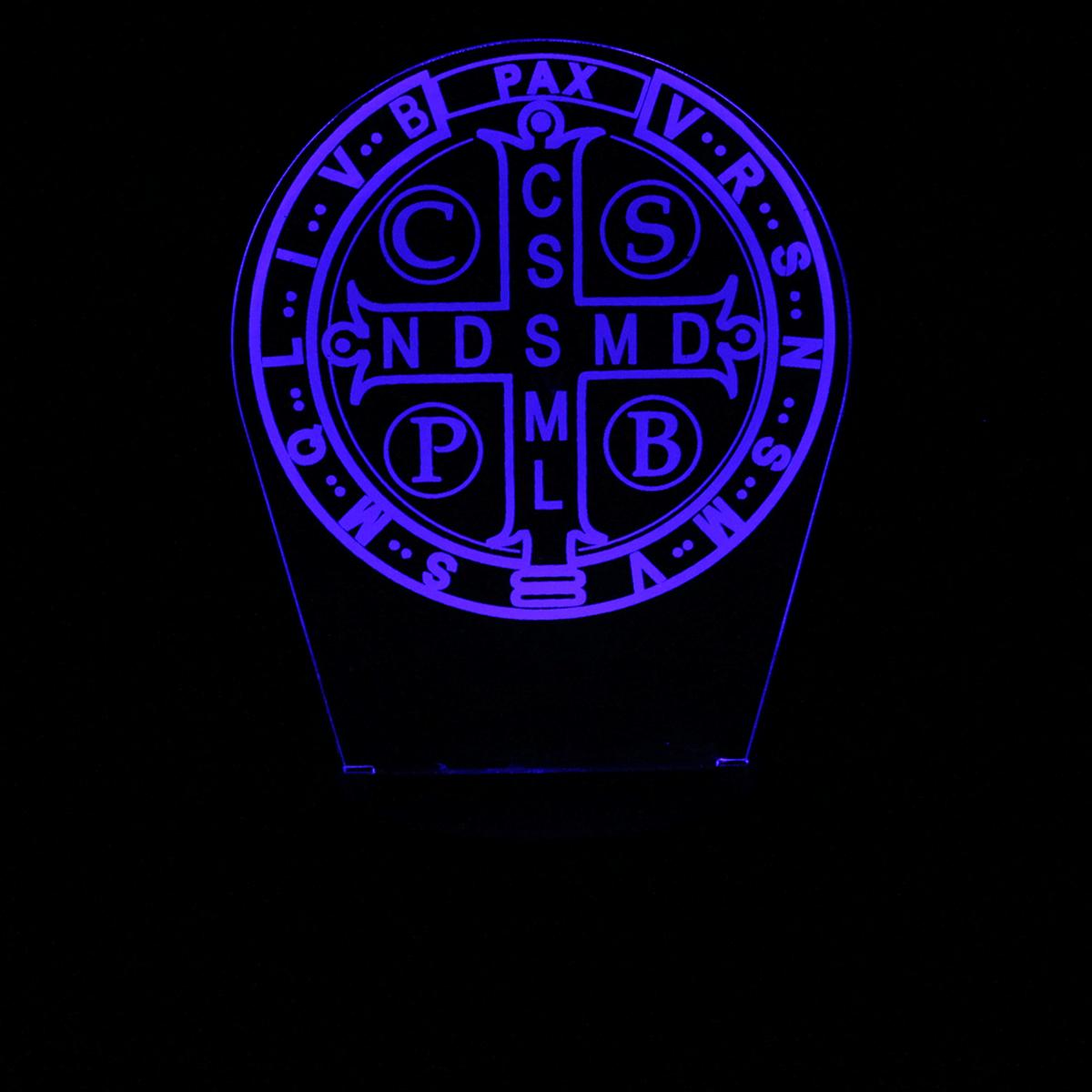 Luminária em Acrílico Sem Fio: Escudo de São Bento