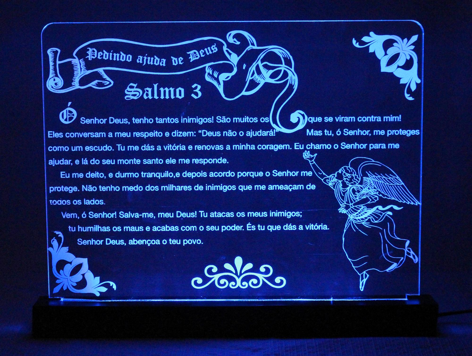 Luminária em Acrílico Com Fio: Salmo 3