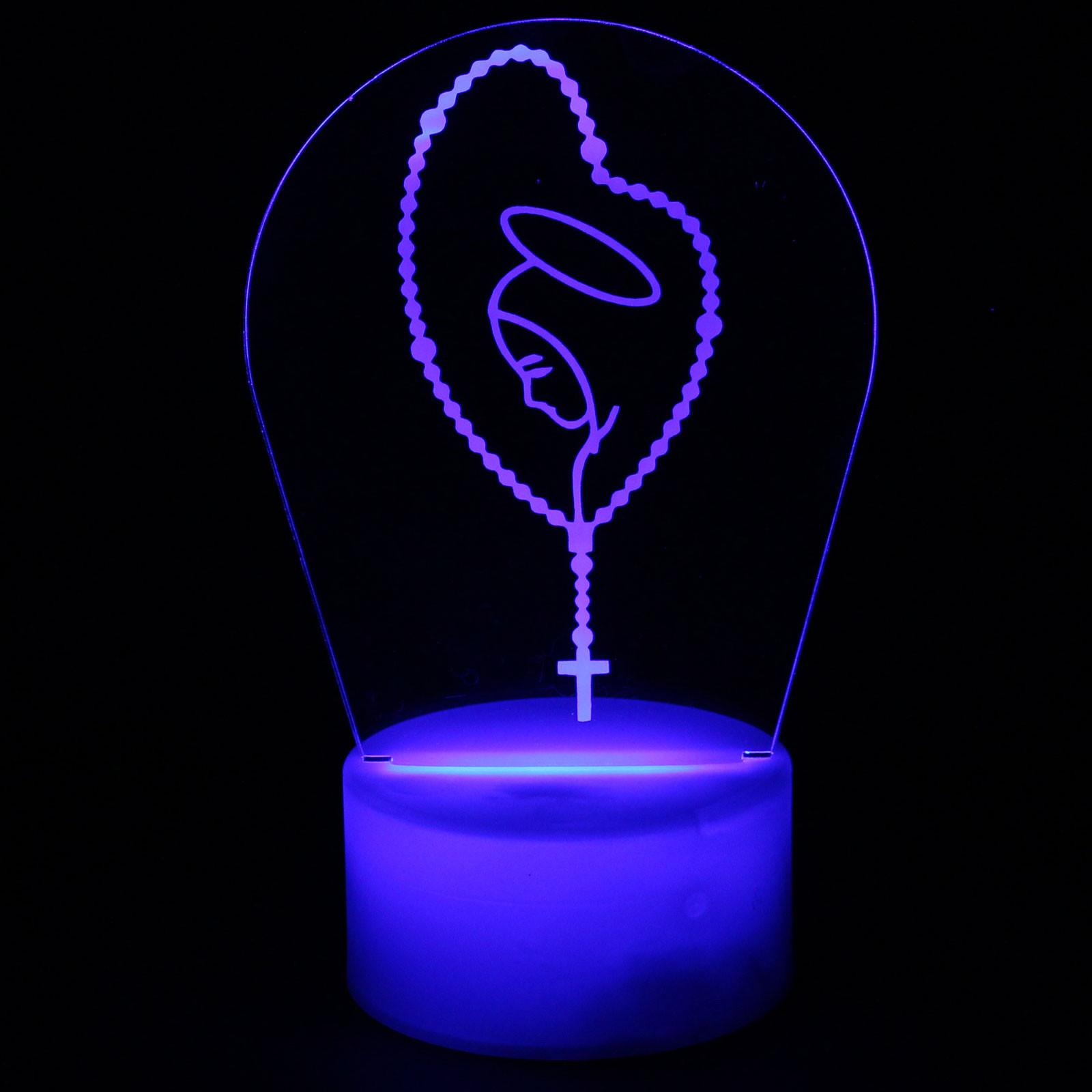 Luminária em Acrílico Sem Fio: Terço Nossa Senhora