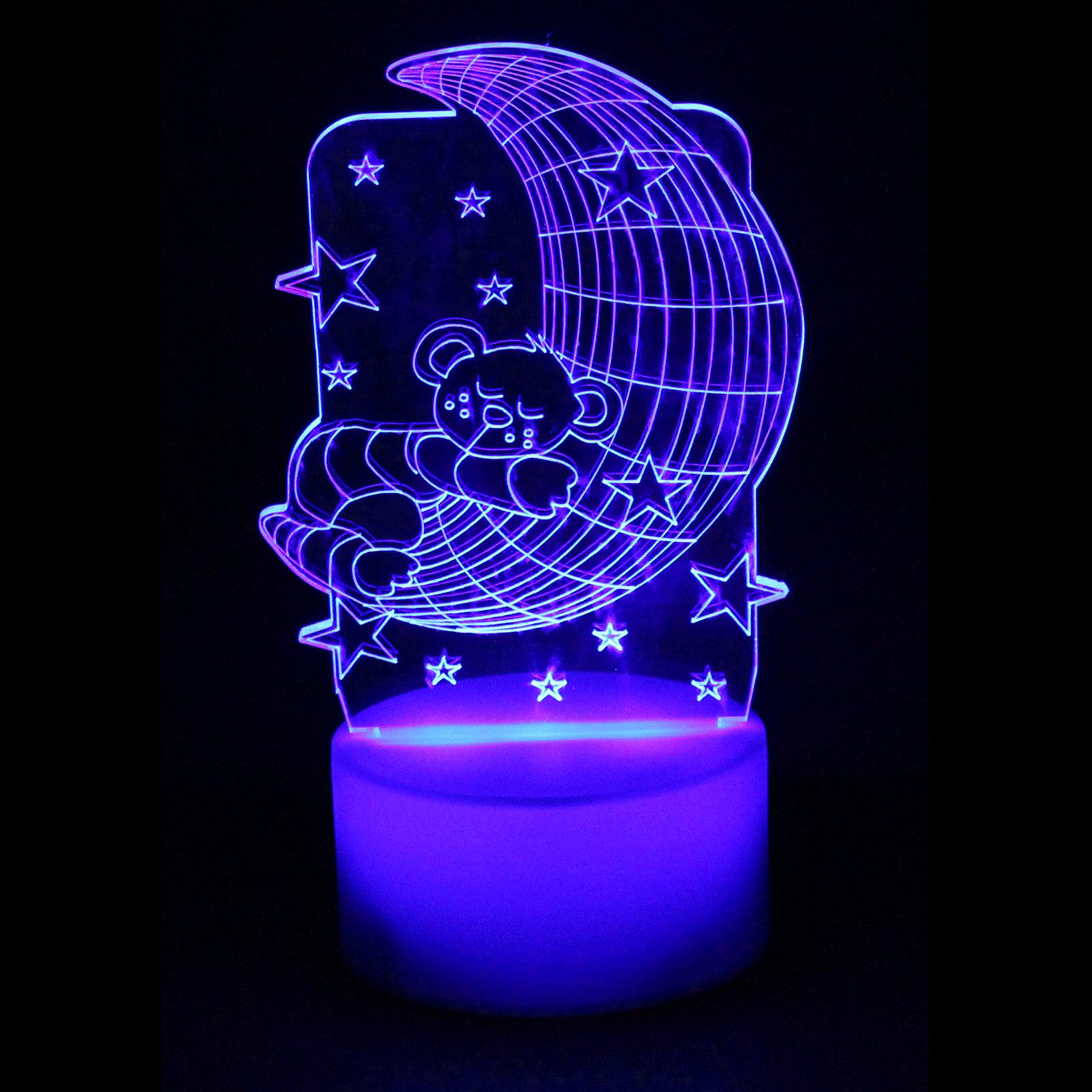 Luminária em Acrílico Sem Fio: Ursinho Azul